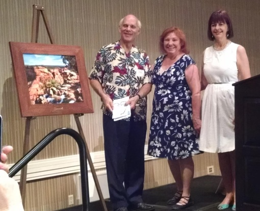 Hon. Don Kessler receives the 2015 Sarah Herring Sorin Award from Barbara Burke, center, and 2015 AWLA President Lisa Bossard Funk, June 26, 2015, Arizona Biltmore, Phoenix.