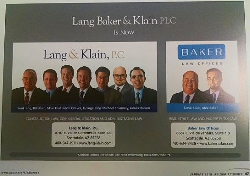 An ad regarding the break-up of a single law firm into two ...