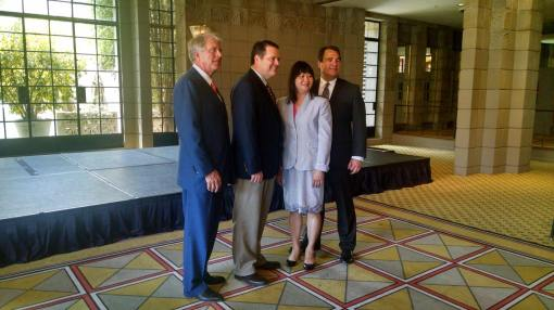 New State Bar of Arizona officers, L to R: Jeff Willis (Secretary/Treasurer; Bryan Chambers, President; Lisa Loo, First Vice President; and Alex Vakula, Second Vice President, June 23, 2015, Arizona Biltmore, Phoenix.