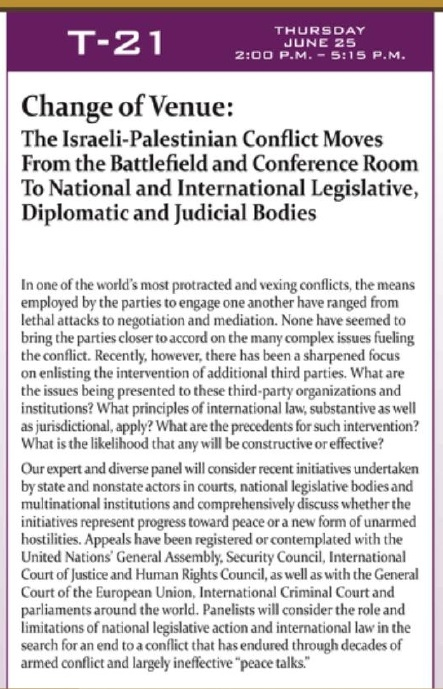 Excerpt from the State Bar of Arizona Convention brochure, World Peace Through Law Section seminar on the Palestinian-Israeli conflict.
