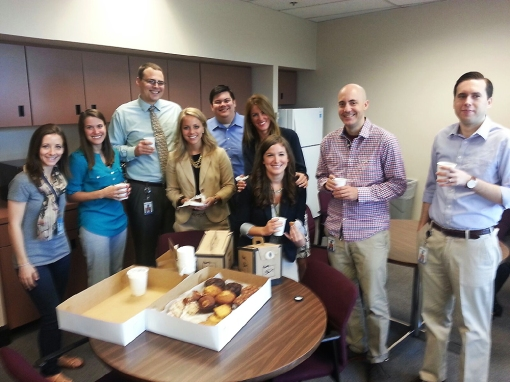 The vote appears unanimous: Arizona Supreme Court clerks enjoy KJZZ pastries. KJZZ's Carrie Jung delivers coffee and pastries to the law clerks at the Arizona Supreme Court in downtown Phoenix on June 29, 2015. (Photo by Sky Schaudt - KJZZ)