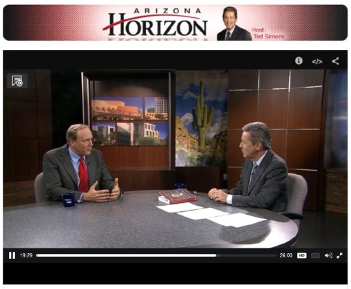 Screen-grab of Bob McWhirter and interviewer Ted Simons on AZ PBS's Horizon.