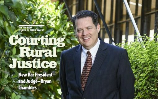 Part of the opening spread in the profile of Bar President Bryan Chambers, Arizona Attorney Magazine, Sept. 2015.