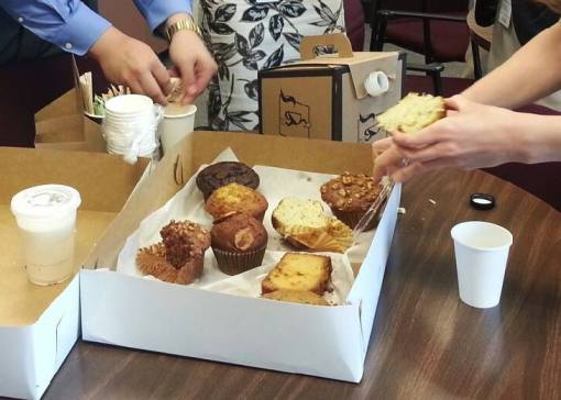 Radio gives back: KJZZ pastry-winnings being enjoyed in the Arizona Supreme Court.