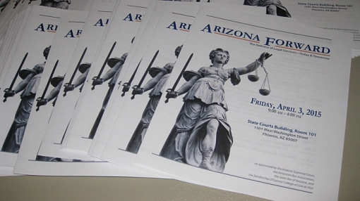 An April 3, 2015, Arizona Forward event at the Arizona Supreme Court gathered advocates and legal experts to addr4ess access to justice issues.