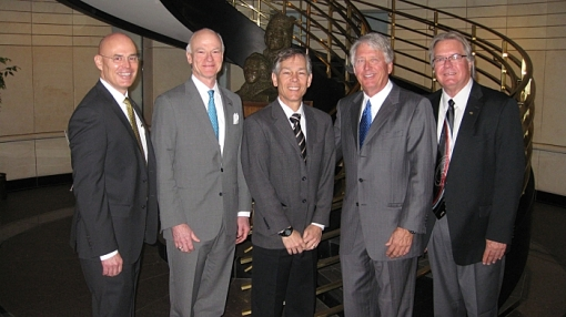 Speakers at the April 3, 2015, Arizona Forward event included (L to R) State Bar CEO John Phelps; ABA President William Hubbard; Arizona Chief Justice Scott Bales; State Bar Governor Jeff Willis; and State Bar President Richard Platt.