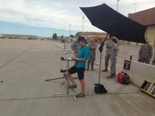 Photographer Karen Shell on location at Luke Air Force Base, July 9, 2015.
