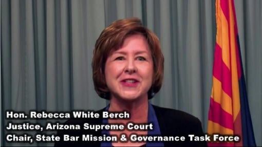 A Supreme Court task force report on the State Bar of Arizona is described by Justice Rebecca Berch, via video available on the Court's website.