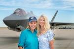 Photographer Karen Shell and Art Director Karen Holub in front of the F-35A Lightning II, July 9,2015.