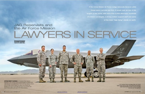Our Luke AFB JAG opening spread (photo by Karen Shell)
