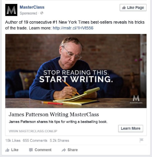 Stop reading start writing James Patterson on FB-page0001
