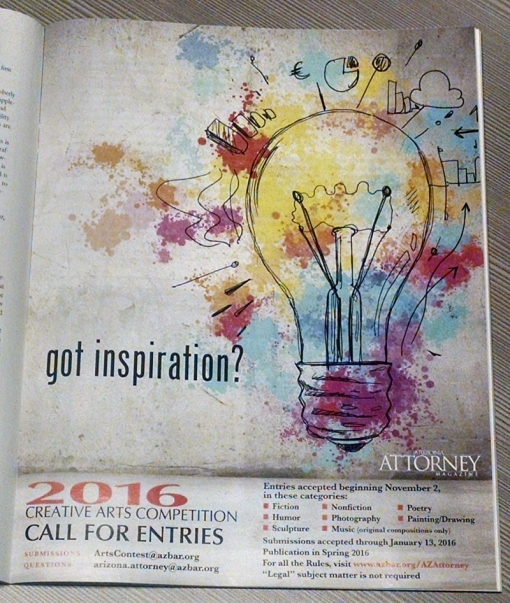 The arts competition kickoff print ad in the September issue.