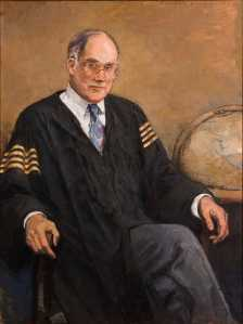 A bestriped Chief Justice William Rehnquist.