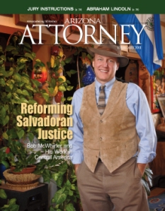 Arizona Attorney Magazine Feb. 2011 cover with Bob McWhirter