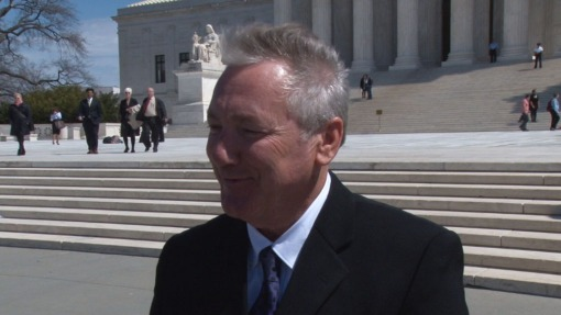Tucson attorney Stephen Kimble outside the Supreme Court, which considered his legal battle with Marvel Entertainment over royalties to a toy he patented.