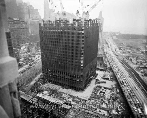 New York's World Trade Center under construction.