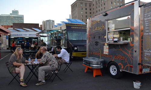 Food trucks at the Downtown Phoenix Public Market.