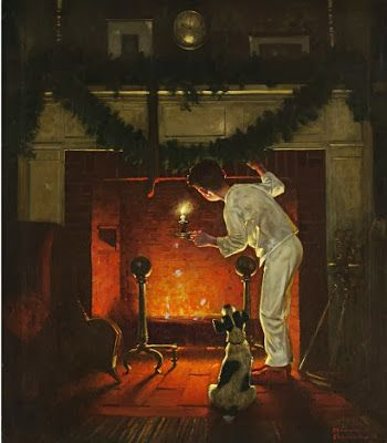 A roaring fire: You feel better already, don't you? fireplace norman rockwell
