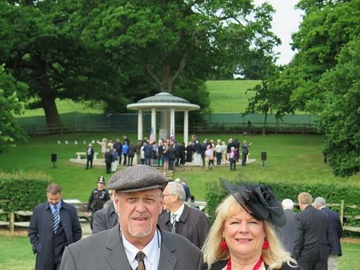 Pat Greene and his wife Pam Greene at Runnymede. Magna Carta