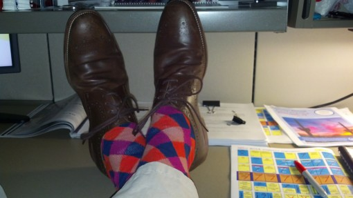 "My socks at work, while my angle of recline indicates ""not workin'."""