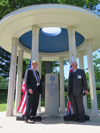Stan Lehman and Pat Greene at the American Bar Association Magna Carta Memorial, Runnymede, U.K.