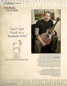 Stu De Haan and his instrument in Arizona Attorney Magazine, May 2015.