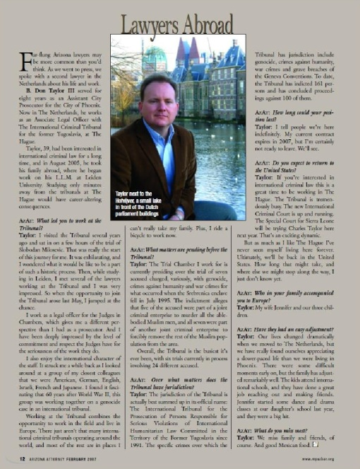Attorney B. Don Taylor in the February 2007 Arizona Attorney, describing his work at The Hague.