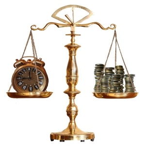 Time and money, the lawyer's calculus. justice scales clock time money lawyer attorney fees