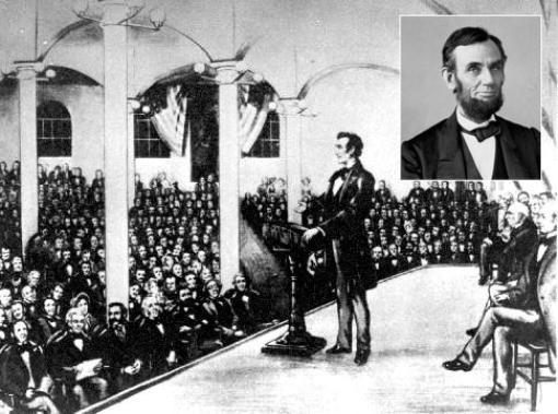Abraham Lincoln gives anti-slavery speech at NY's Cooper Union February 1860
