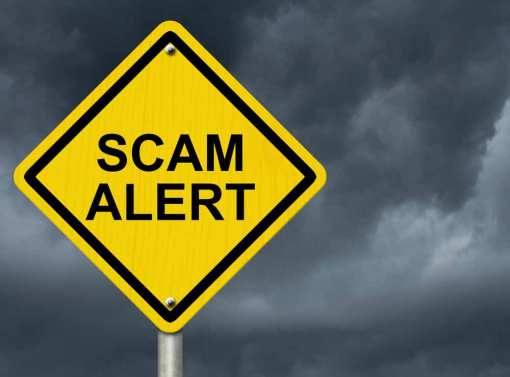 scam alert roadsign sign