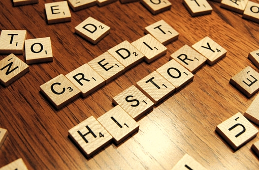 credit report history Scrabble pieces