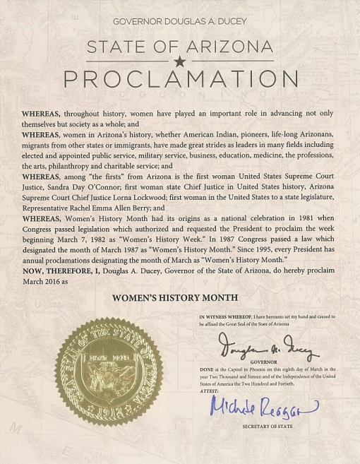 A proclamation by Ariz. Gov. Doug Ducey declares that March 2016 is Women's History Month.