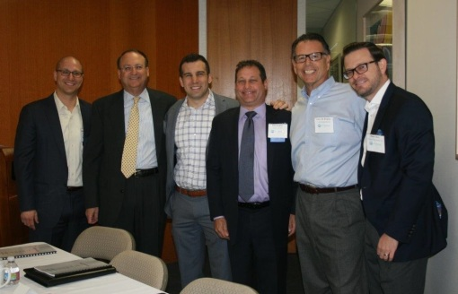 From L to R: Raphael Avraham, Cardozo Society Chair; Richard Lustiger, Harkins Theatres General Counsel; Ahron Cohen, Arizona Coyotes General Counsel; Eliot Kaplan, Business & Professionals Chair and Partner at Perkins Coie; Larry DeRespino, U-Haul General Counsel; Matt Ohre, Barrett Jackson General Counsel.