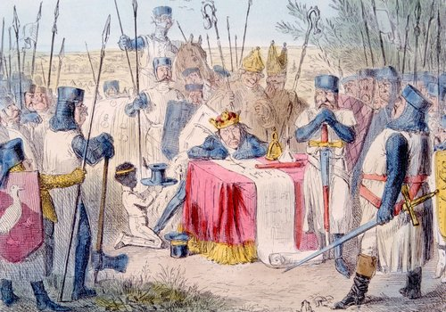 Though it's unlikely to have happened this way, here is one artist's rendition of Magna Carta being signed at Runnymede.