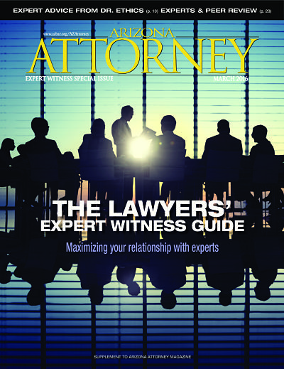 "Our March 2016 ""Expert Witness Special Issue"" cover"