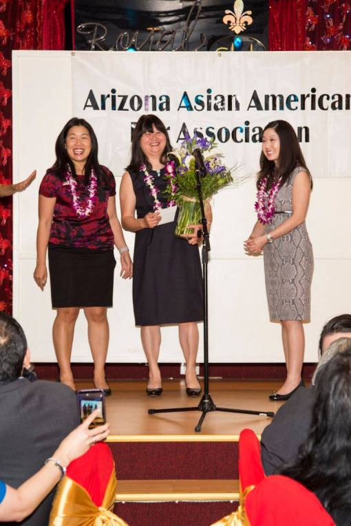 L to R: Then-AAABA President-Elect Amanda Chua, State Bar of Arizona President-Elect Lisa Loo, then-AAABA President Nicole Ong, April 14, 2016.