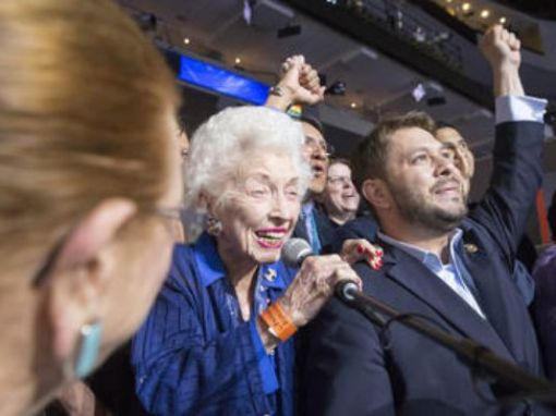 102-year-old Jerry Emmett, an honorary Arizona delegate to the 2016 Democratic National Convention, announces the delegate vote