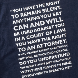 Miranda warning on T-shirt