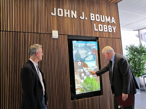 ASU's Tom Williams demonstrates touchscreen technology that will interact with a dedicated building app.