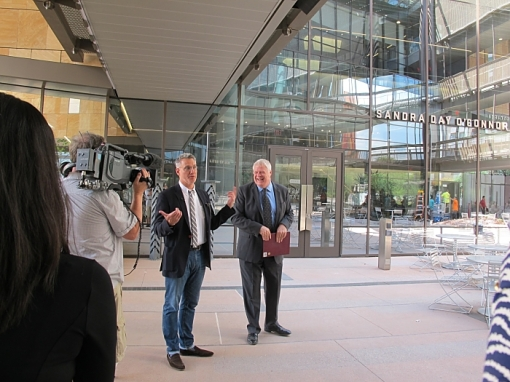 Architect Tomas Rossant (left) and ASU's Tom Williams lead a media tour of the new Center for Law and Society, Aug. 10, 2016.