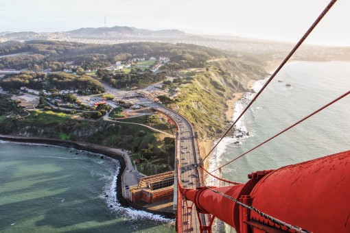 In a photo by Steve Mnich, we get a one-of-a-kind view from the Golden Gate Bridge.