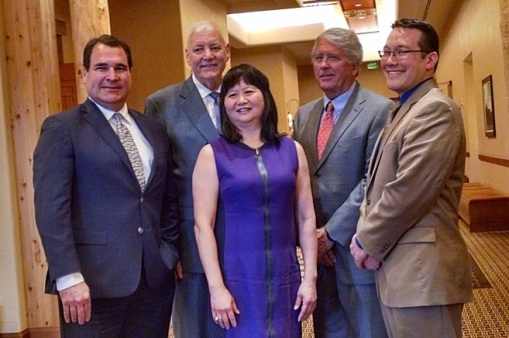 President Lisa Loo, center, and the other State Bar of Arizona officers, 2016-17. L to R: President-Elect Alex Vakula, Second Vice President Steve Hirsch, President Lisa Loo, First Vice President Jeff Willis, and Secretary-Treasurer Brian Furuya.