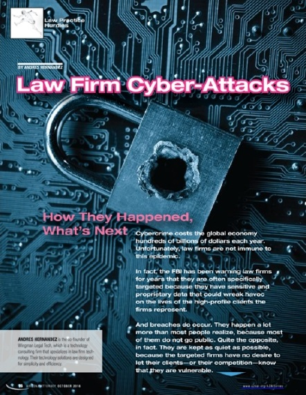 The opening page of Andres Hernandez' article on cyberattacks, Oct. 2016.