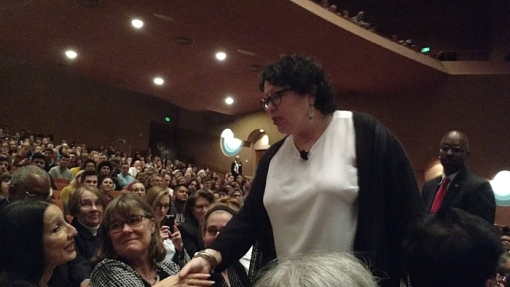Justice Sonia Sotomayor greets University of Arizona Professor Rebecca Tsosie, Jan. 23, 2017, ASU Gammage Auditorium, at the annual John Frank Lecture.