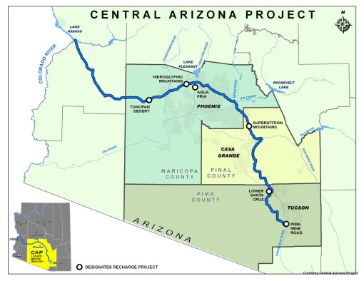 Map of the Central Arizona Project